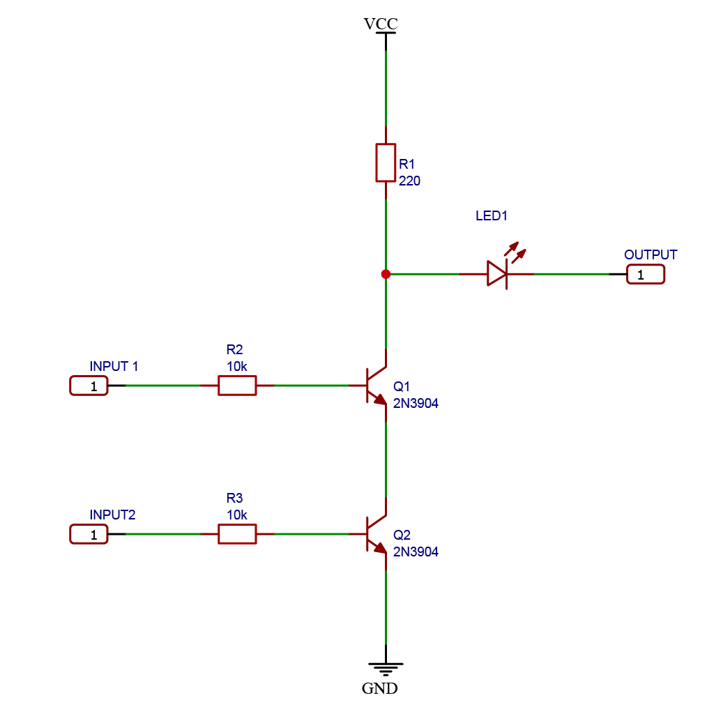 Schematic drawing of a logic NAND gate using NPN BJT transistors