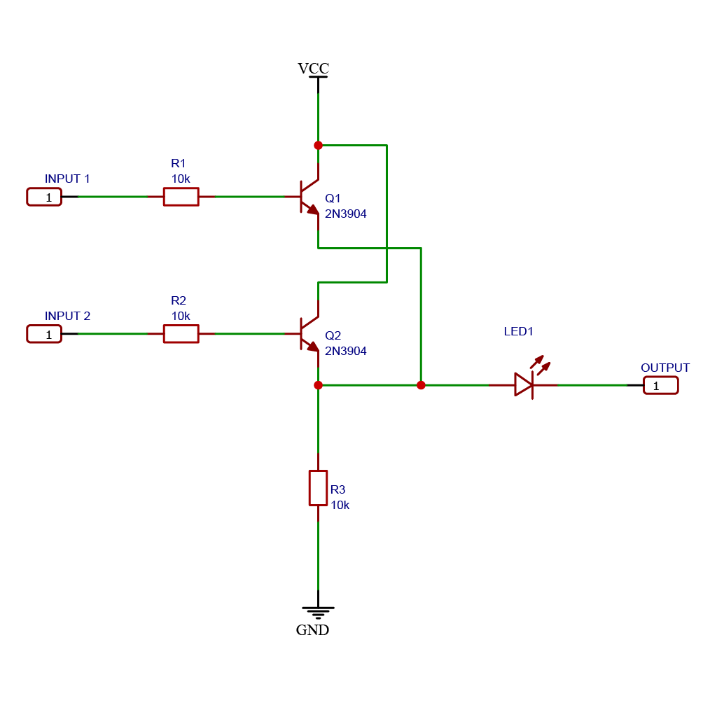 Schematic drawing of a logic OR gate using NPN BJT transistors