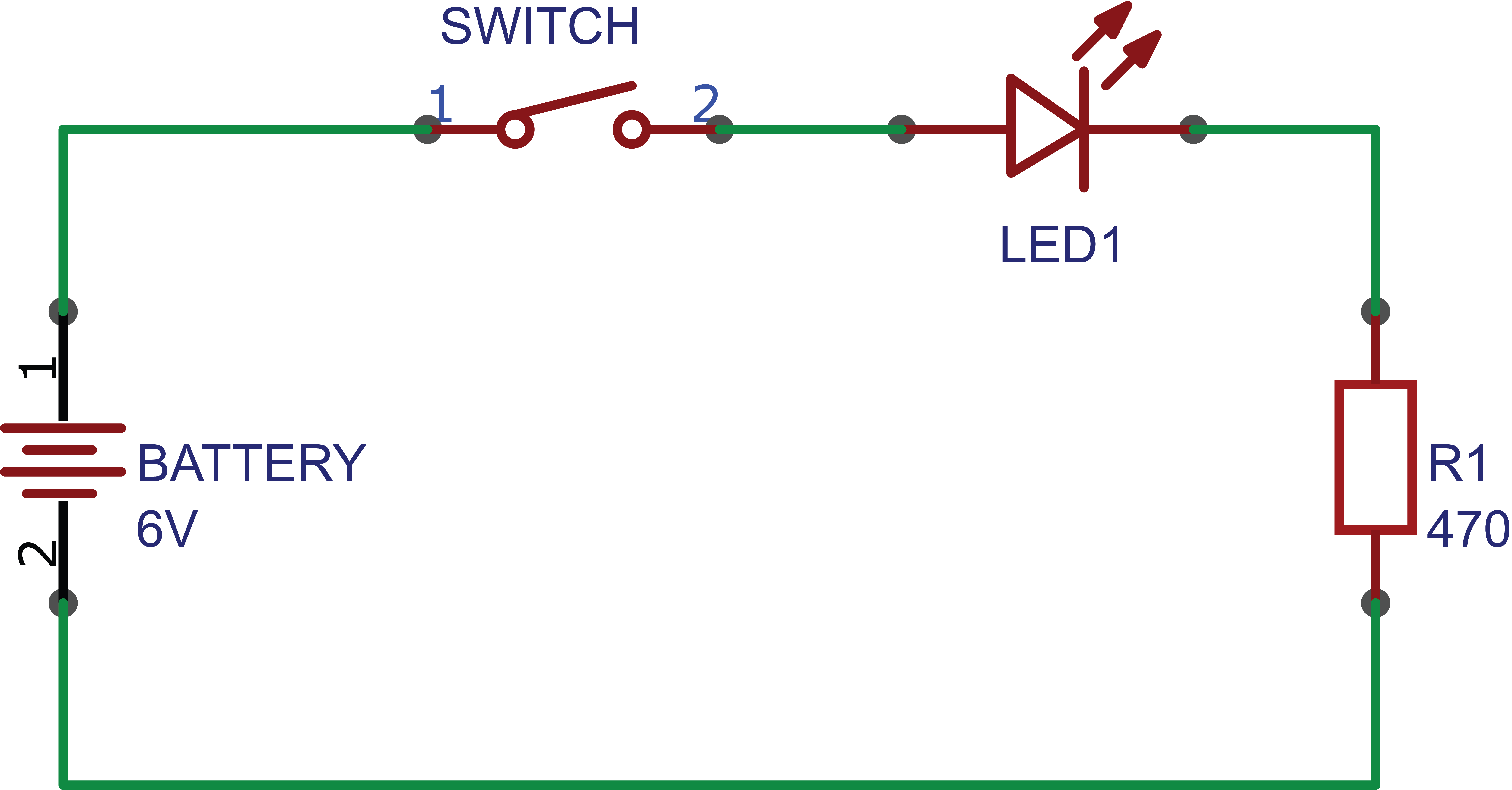 Simple Schematic of an LED and Battery Circuit