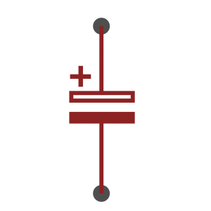 Polarised capacitor symbol as used in schematics
