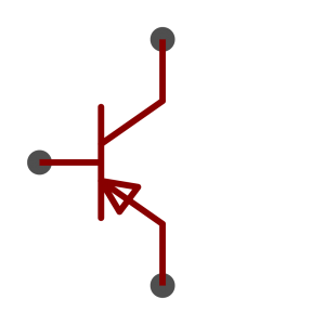 PNP BJT transistor symbol as used in schematics